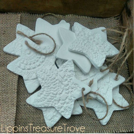 Hand made by me these beautiful Clay Stars are perfect to add that bit of drama to your Christmas tree  Embossed with vintage dollies no