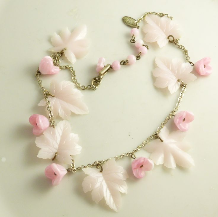 Vintage Miriam Haskell Pale Pink Leaf and Flower Charm Dangle Silver tone Necklace - Vintage Lane Jewelry - 1
