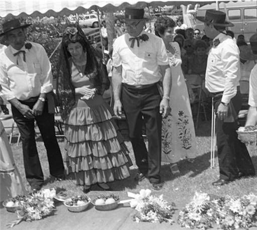 San Fernando Blessed Fruits and Flowers Festival, June 8, 1986. This event was a local ceremony that combined indigenous spiritual beliefs with Catholic blessings to ensure a bountiful harvest. Robert and Betty Franklin Collection. San Fernando Valley History Digital Library.: Flowers Festivals
