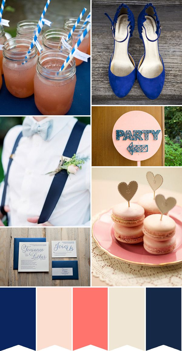 Blue-Wedding-Colour--Inspiration - Read More on One Fab Day http://onefabday.com/blue-wedding-colour-palette-french-navy-and-coral/