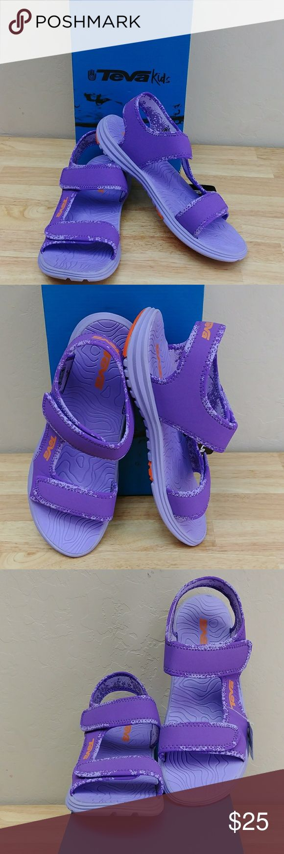 Teva Kid's-Youth Tidepool Sandal Teva Kids-Youth Tidepool Sandal, size 7-M Us (Kids-Youth), color purple Orange, synthetic upper, hook & loop closure, EVA,  rubber outsole, compare $32.00 store retail price value, comes new in original box in good cosmetic condition, Tidepool sandal is not, in fact, exclusively for hopping though tidepools?this ultralight amphibious sandal walks the walk from wet to dry, from trail to town. Teva Shoes Sandals & Flip Flops