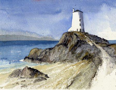 Lighthouse, Llanddwyn Island, Anglesey. Watercolour, Kathy Lewis