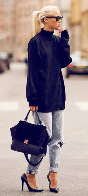 trendy outfit idea | black oversized sweater + bag + ripped jeans + heels