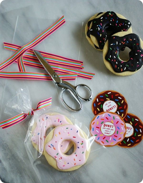 Donut cookies (with royal icing or dark chocolate glaze) from Bake at 350