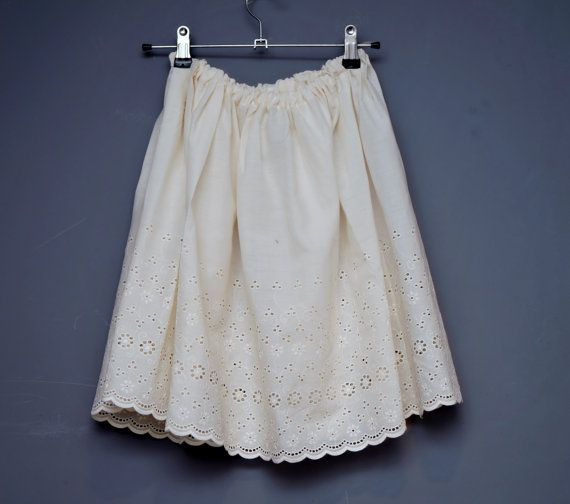 Lace slip skirt / cream / Broderie Anglaise / by Memzwear on Etsy