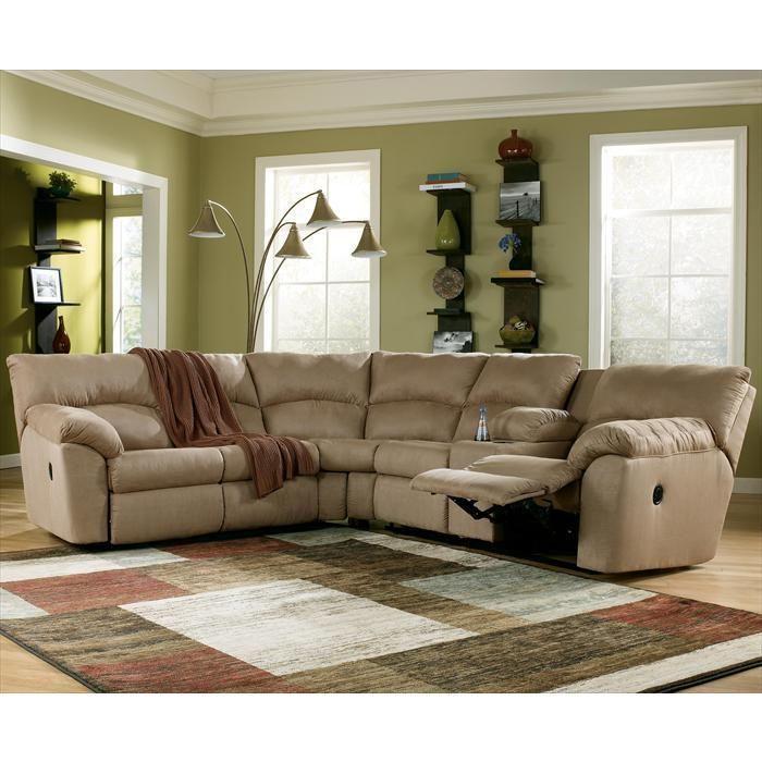 Amazon mocha 2 piece reclining sectional nebraska for Nebraska furniture mart living room tables