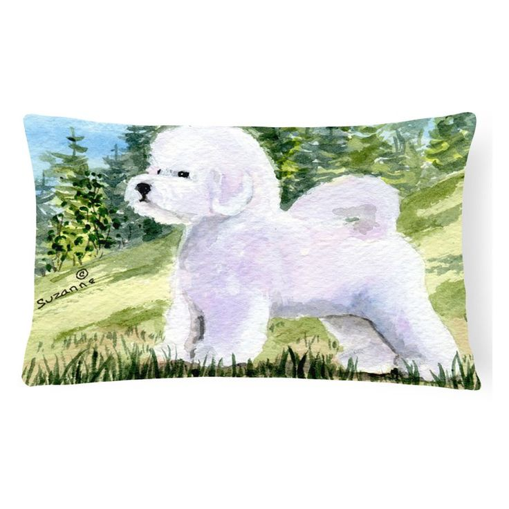 Carolines Treasures White Bichon Frise on Green Background Decorative Outdoor Pillow - SS8900PW1216