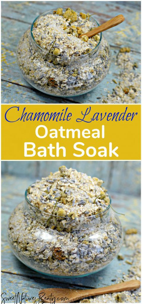 This Chamomile Lavender Oatmeal Bath Soak Recipe uses bath salts and oatmeal for sore muscles and for dry skin. The homemade DIY Chamomile Lavender Oatmeal Bath Soak Recipe with essential oils has aromatherapy benefits. This bath soak is all natural and has real herbs. #naturalskincare #diybathsoak
