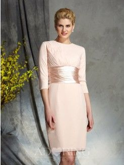 Sheath Scoop 3/4 Sleeves Chiffon Short Mother of the Bride Dress