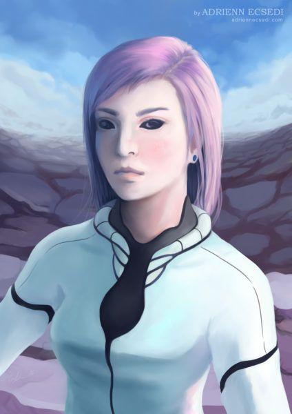 Portrait of Trisha - by Adrienn Ecsedi, 2016 adriennecsedi.com #DigitalArt #ScifiArt #SemiRealistic #AnimeArt