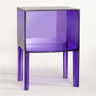 A vibrant, but transparent, purple nightstand would look fabulous bedside!