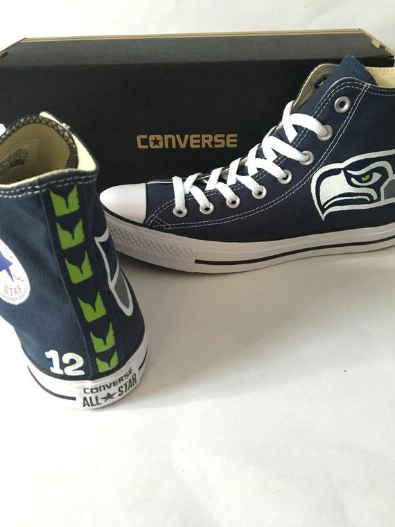 Navy Blue hi-top converse Seattle Seahawks design painted on Details in  photos sizes are in Mens sizing - please request Womens in notes to seller  box if ... 3987fc2e8