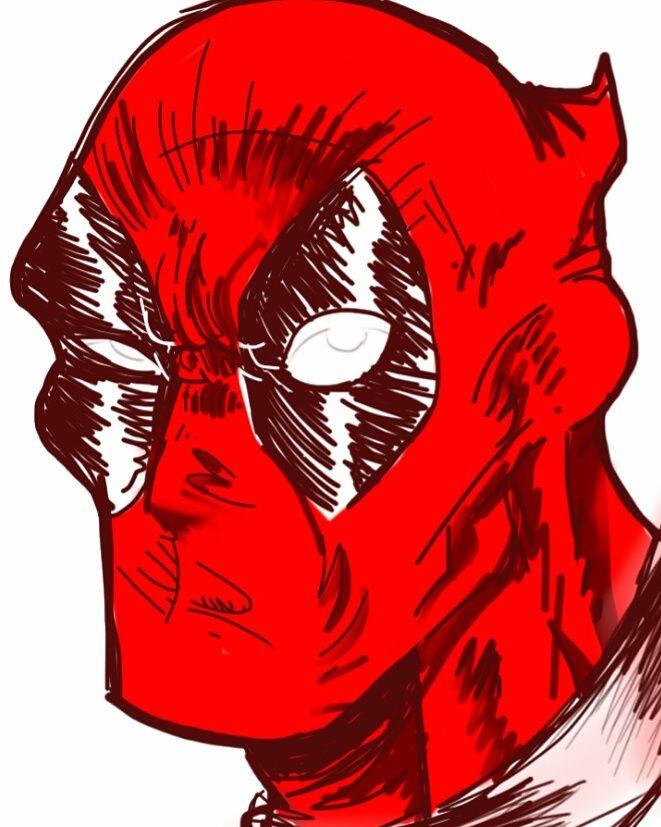 Deadpool, mano libera su tavola digitale, di Matteo Tirimagni.