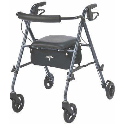 Ultralight Rollator in Smoky Blue by Medline. $99.00. MDS86825SLB Features: -Ultra light rollator.-Weighs only 10 lbs. vs. 16 lbs. for traditional rollators.-Seat height adjustable to accommodate people 58'' to 74''.-Serves as a standard and a junior rollator.-High end bag under the seat with water resistant pouch and shoulder strap.-Supports weights up to 250 lbs.-Packaging: 1 Case / each. Color/Finish: -Color: Smokey blue.