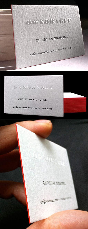 Stylish Minimalist Design Embossed Edge Painted Letterpress Business Card