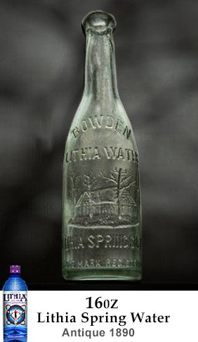 1890 Bowden Lithia Spring Water 16 OZ glass bottle. A popular size and could be one of the first 16 OZ water bottles made in the USA. Manufactured at the spring site, Lithia Springs GA