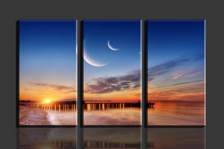 Sunrise,beach,bridge and moon 3 Panel picture Canvas print painting Wall art Home decoration,WHOLESALES02959 Printing arts-in Painting & Calligraphy from Home & Garden on Aliexpress.com | Alibaba Group