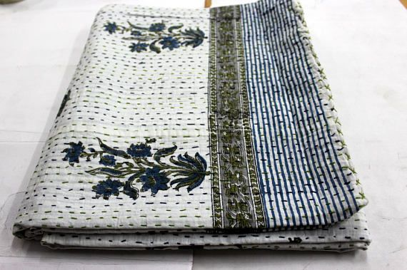 Hand made kantha quilt vintage twin size throw hand stitched