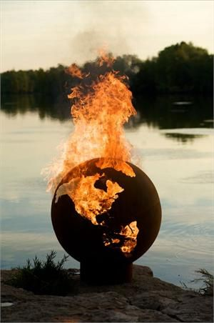 Firepit in the Shape of the Earth #firepit #landscaping