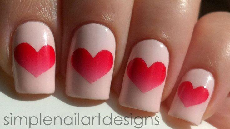 Nägel bemalen Ombre Herzen, DIY Nageldesign Ideen zum Valentinstag