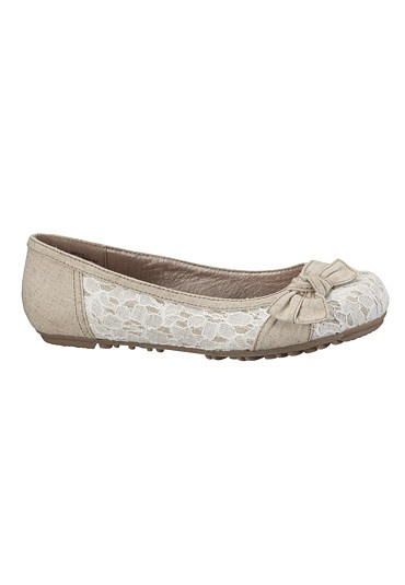 Bree Textured Lace and Bow Flat available at #Maurices
