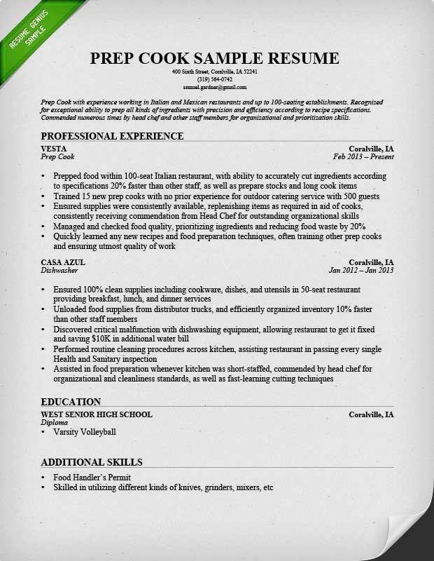 line cook skills list  cover letter