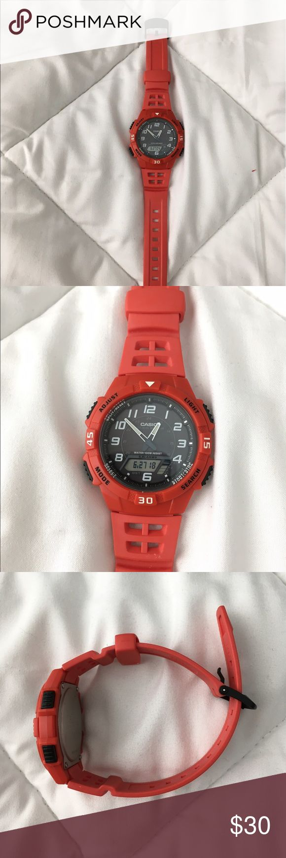 Casio AQS800W-4BV Casio Men's Red Resin Watch From the Manufacturer Utilizing a unique Self- Charging solar power system, this sporty analog/digital combination model provides plenty of functionality. A host of features such as 48-city world time, 5 alarms, stopwatch and dual countdown timers make this a versatile timepiece for almost any sport outing. Also water resistant up to 330ft. Casio Accessories Watches