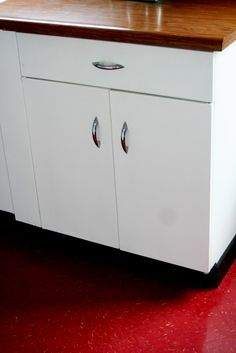 White metal cabinets with wood countertop: Learning to Love my 50s, Metal Kitchen Cabinets