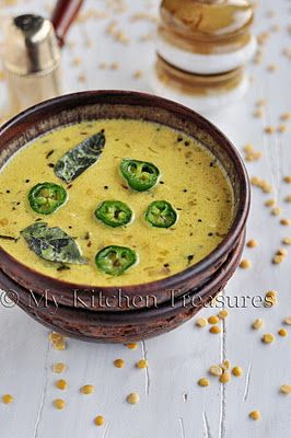 My Kitchen Treasures: Lentils With Coconut Milk | A beautiful toor dal dish. I bet the rest of her recipes are fantastic!