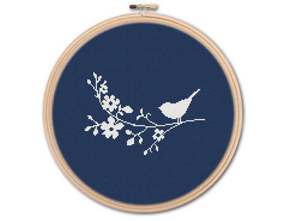 Bird on Branch Counted Cross stitch Pattern PDF Cross