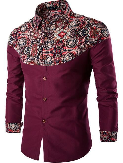 Men's Luxury Long Sleeve Casual Pattern Slim Fit Dress Shirt