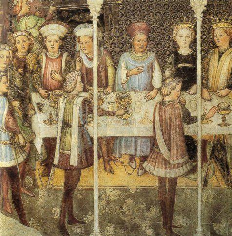 Fratelli Zavattari - Banchetto di nozze - Cappella di Teodolinda - duomo di Monza - 1444 - A Milano, alla fine del 300, quando la figlia del duca Galeazzo Visconti sposò Lionello d'Inghilterra, fu allestito un banchetto in cui si presentarono in tavola storioni, quaglie, pernici, anatre, carpe e persino interi vitelli rivestiti da una sottile foglia d'oro. Simbolo di ricchezza, l'oro era considerato un medicamento e il servire confetti ricoperti d'oro aveva lo scopo di rinforzare il cuore.