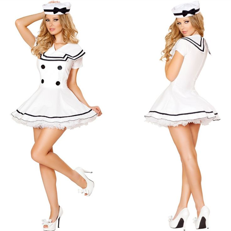 2015 New Sexy Pure White Salor Costume with Hat Fancy Adult Halloween Costumes For Women Fantasia Feminina Freeshipping