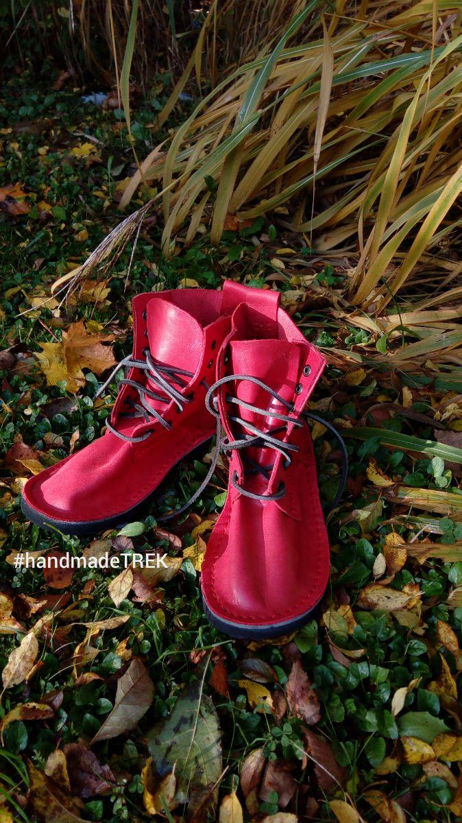 Handmade TREK Basic 7 leather shoes in autumn morning sun