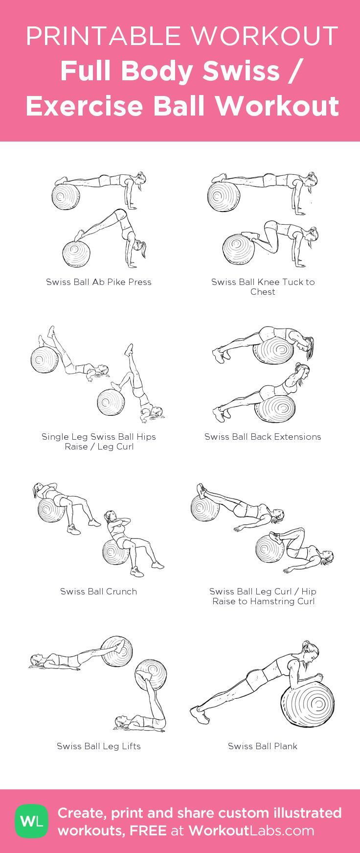 Full Body Swiss / Exercise Ball Workout –my custom workout created at http://WorkoutLabs.com • Click through to download as printable PDF! #customworkout