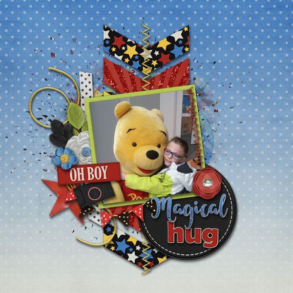 Magical Hug - digital Scrapbook Layout    Credits:  Magic Memories Grab Bag by Laurie's Scraps & Designs at Gingerscraps    Love the disney theme of the grab bag.    http://store.gingerscraps.net/Magic-Memories-GrabBag.html