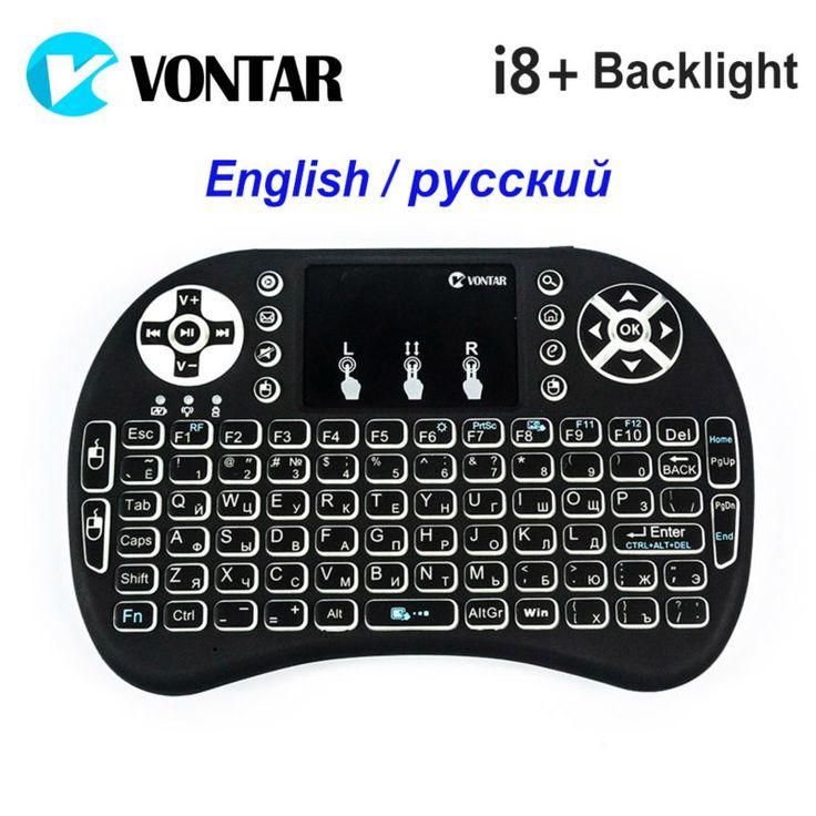 VONTAR Retroiluminada Retroiluminación Mini Teclado Sin Hilos i8 + Inglés Ruso 2.4 GHz Air Mouse Gaming Touchpad para Android TV BOX Laptop