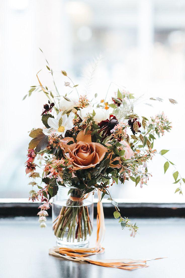 Rustic wedding table flowers