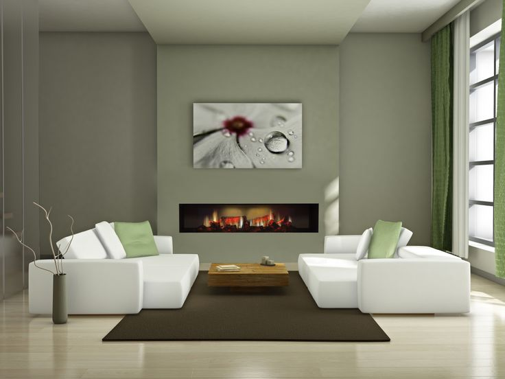 Make it feel like #spring with green decor and contrast it with a #Dimplex #OptiV #Electric #Fireplace