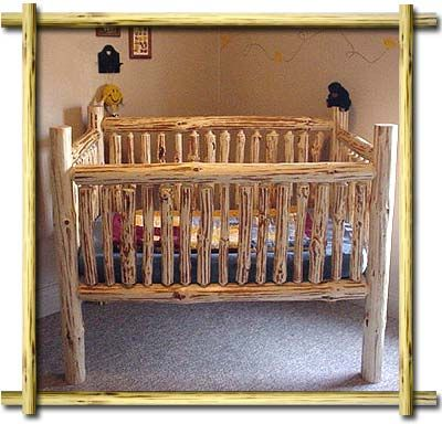 Rustic homemade pine log baby crib for a log cabin or western cowboy baby nursery with patchwork baby quilt bedding. Description from pinterest.com. I searched for this on bing.com/images
