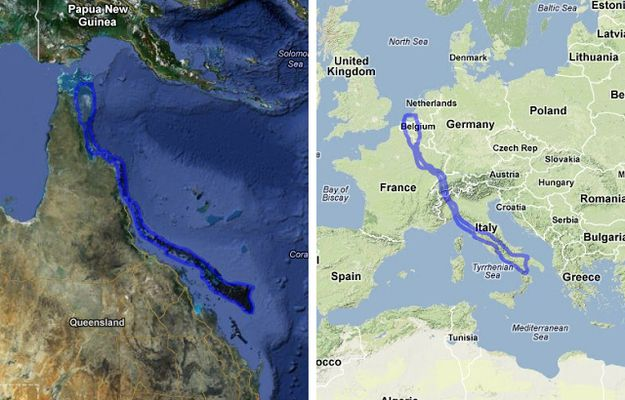 The Great Barrier Reef compared to Europe.