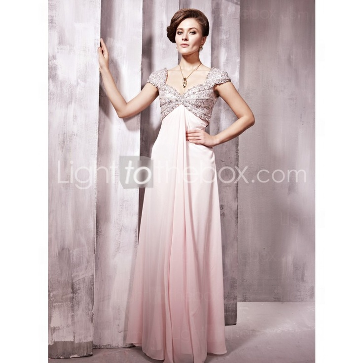 Queen Anne Floor-length Chiffon Military Ball Dresses With Sequined (LISA??)Queens Anne, Evening Dresses, Parties Dresses, Evening Gowns, Saia Mini-Sequins, Pink Sequins, Cap Sleeve, Pink Prom Dresses, Formal Gowns