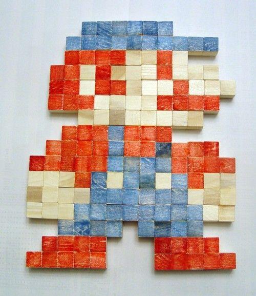 Wooden Pixel Art Mario - by DeviceZero