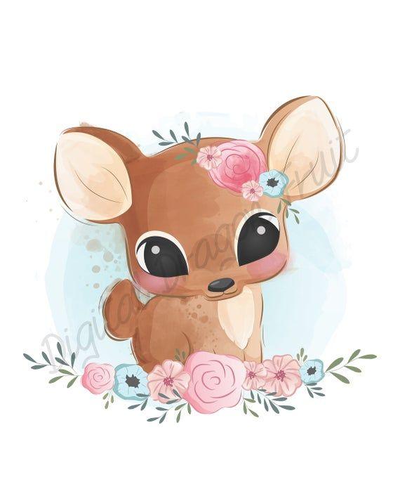 Fawn Printable Little Deer Digital Download Etsy Baby Animal Drawings Cute Animal Illustration Cute Animal Drawings