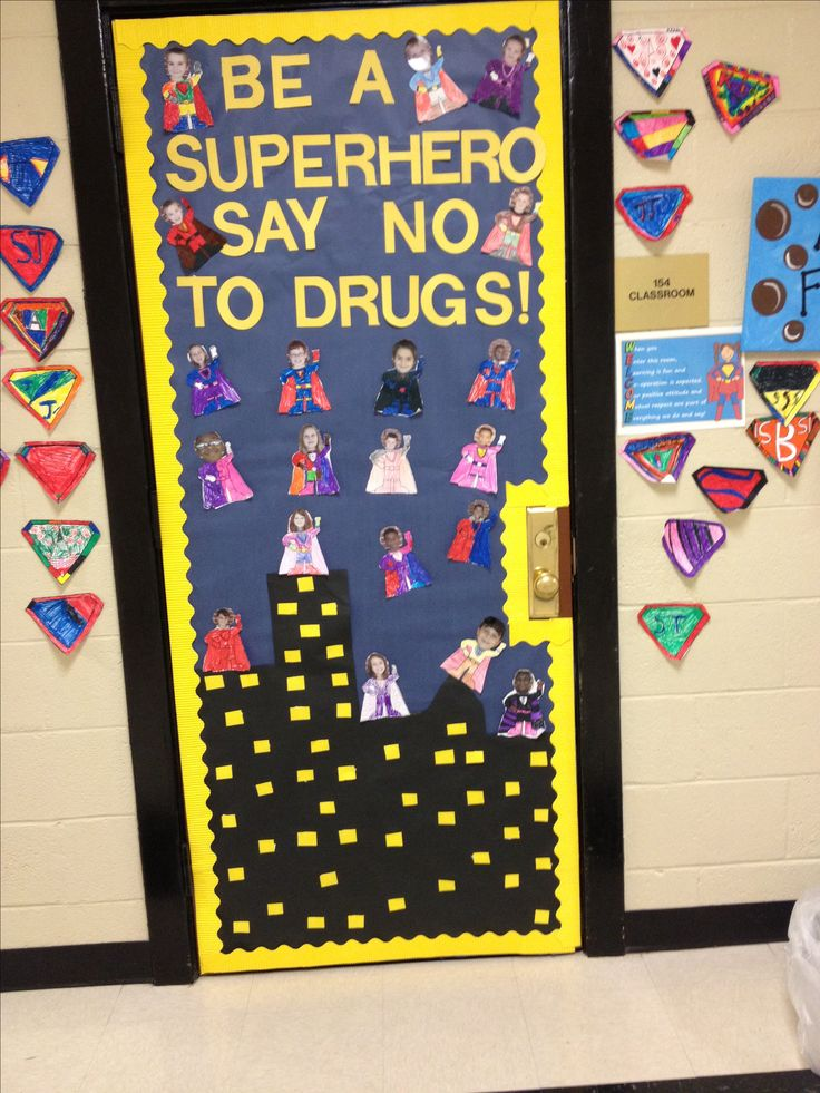 Drug Free Superhero Door Red Ribbon Week Pinterest