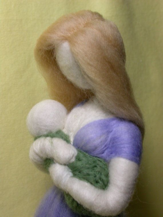 Nursing Mother with Baby Needle Felted Figure by radishwoolworks, $45.00