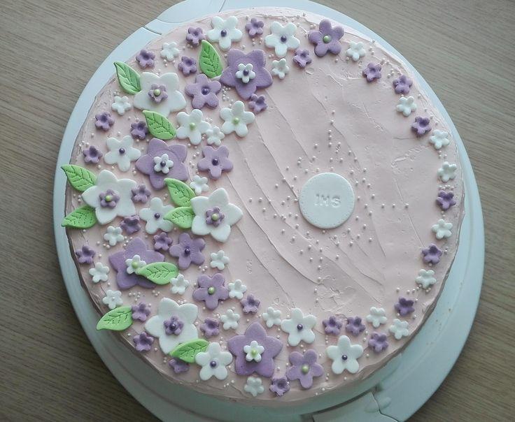 Tort komunijny z kremem maślanym dla dziewczynki  Communion Cake for Girl with buttercream