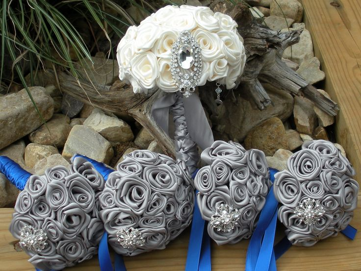 Silver And Royal Blue Wedding Bouquet Set By Elegance On The Avenue  Www.eleganceontheavenue.