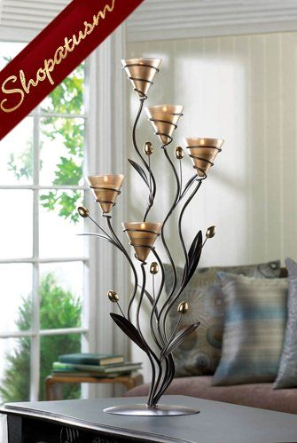 Large Candelabra Centerpiece Golden Bouquet Candle Holder