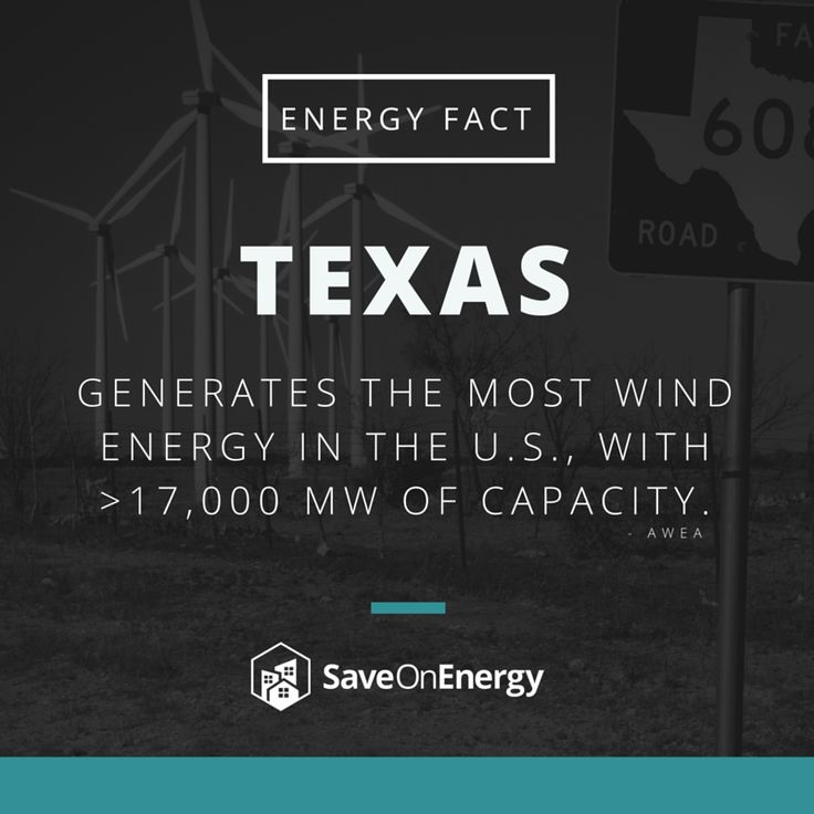 Did you know that the great state of Texas generates the most wind energy in the entire nation? In fact, it has a capacity of more than 17 MW! #energyfact